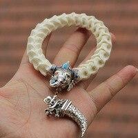 ナチュラルヘビの骨ビーズブレスレットチベットシルバー象と歯で中国七宝ヴィンテージスタイルビーズジュエリー