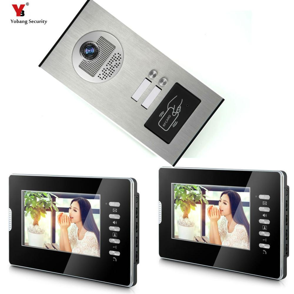 7'' Wired Video Door Phone Intercom System RFID Access Entry Camera Door Bell 2 Monitors Multi- Apartments/Family/Home