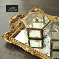 Restoring crown jewellery box glass golden jewelry box immortal flowers display box 1pc/lot