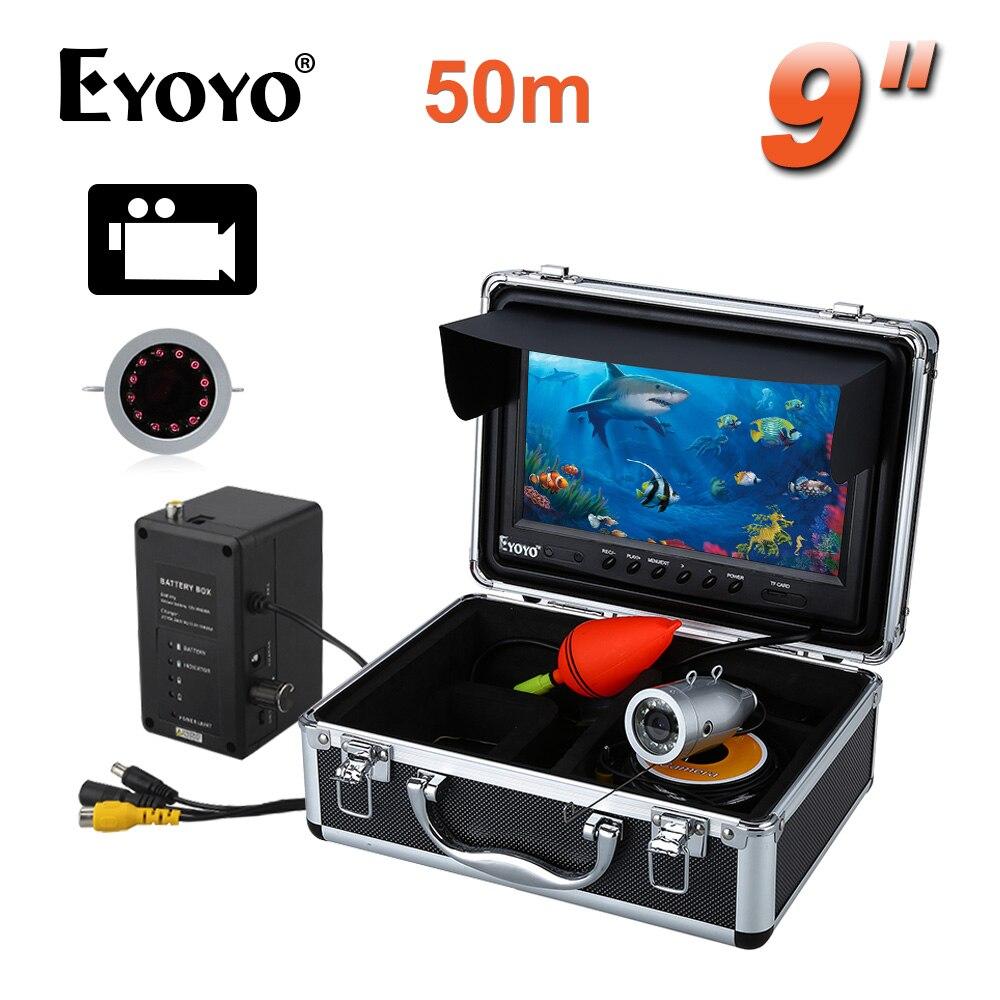 EYOYO HD 1000TVL 50 M Argent Couleur Sous-Marine De Pêche CAM 9 Vidéo Fish Finder Enregistrement DVR 8 GB Infrarouge LED