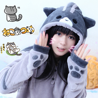 2017 New Design Game Neko Atsume Cosplay Costume Hoodie Woman Cute Cat Thicken Flannel Hooded