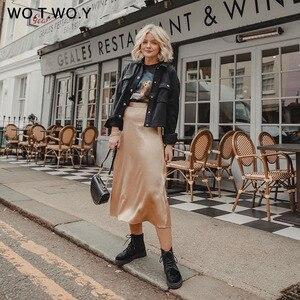 Image 4 - WOTWOY 2019 แนวโน้มร้อนซาตินกระโปรงผู้หญิงสูงเอว Zipper Slim หลวม A Line กระโปรง Lady Pink Blue Streetwear กระโปรง