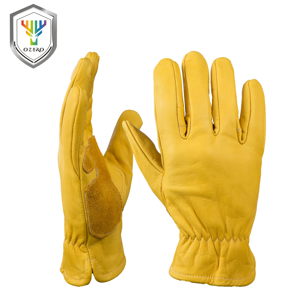 Leather work gloves china - Ozero Cowhide Leather Work Gloves With Elastic Wear Wrist Men S Welding Wearable Moto Driver Warm Safety