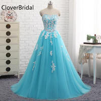 Blue Quinceanera Dresses Sweetheart Tulle With Lace A Line Vestido De 15 Anos Sweet Dress For