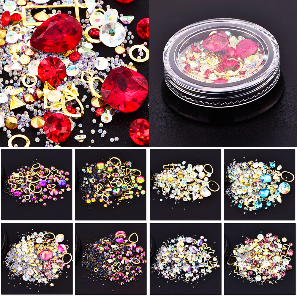 3D Nail Crystal Rhinestones Nail Art Decorations Mixed Colorful Acrylic Alloy Metal Frame Diy Art Nails Decor Manicure in Rhinestones Decorations from Beauty Health