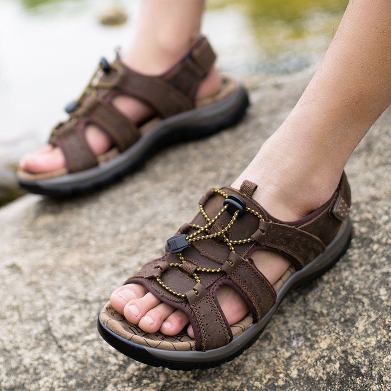 2017 Sommer Männer Sandalen Aus Echtem Leder Rindsleder Handgefertigt Außenrutsche Sandalen Alias Hombre Atmungsaktives Native Strand Schuhe