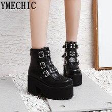 YMECHIC сапоги в стиле «милитари» для Дамская обувь на платформе на высоком блочном каблуке, стиль «панк»; ботинки в готическом стиле с заклепками и пряжкой; ботинки в Военном Стиле Большие размеры 34–45
