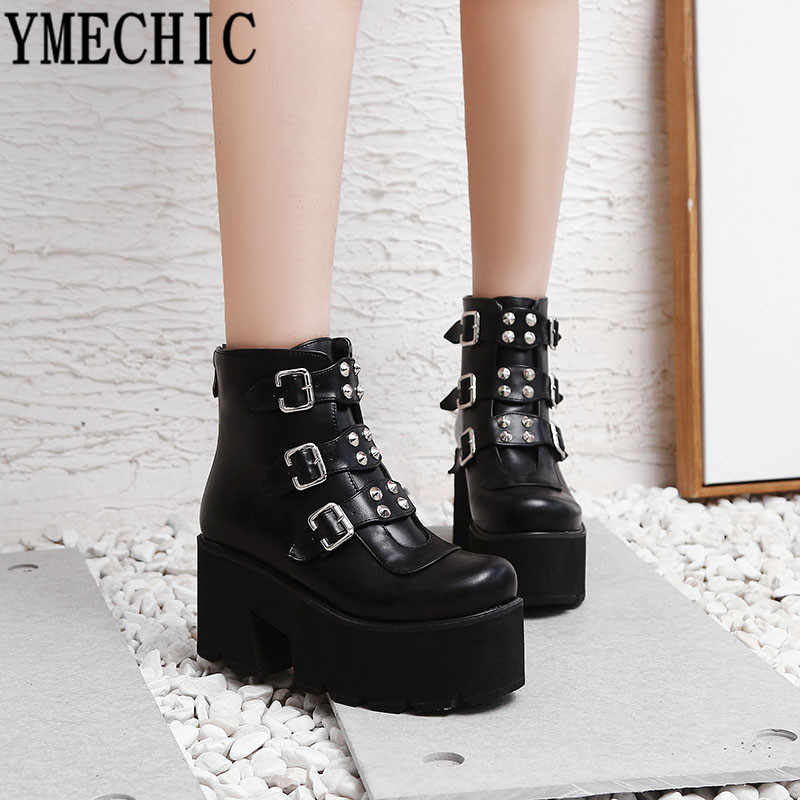YMECHIC 2019 Combat Boots for Women Platforms Block High Heel Punk Shoes Gothic Rivet Buckle Ankle Military Boots Big Size 34-45