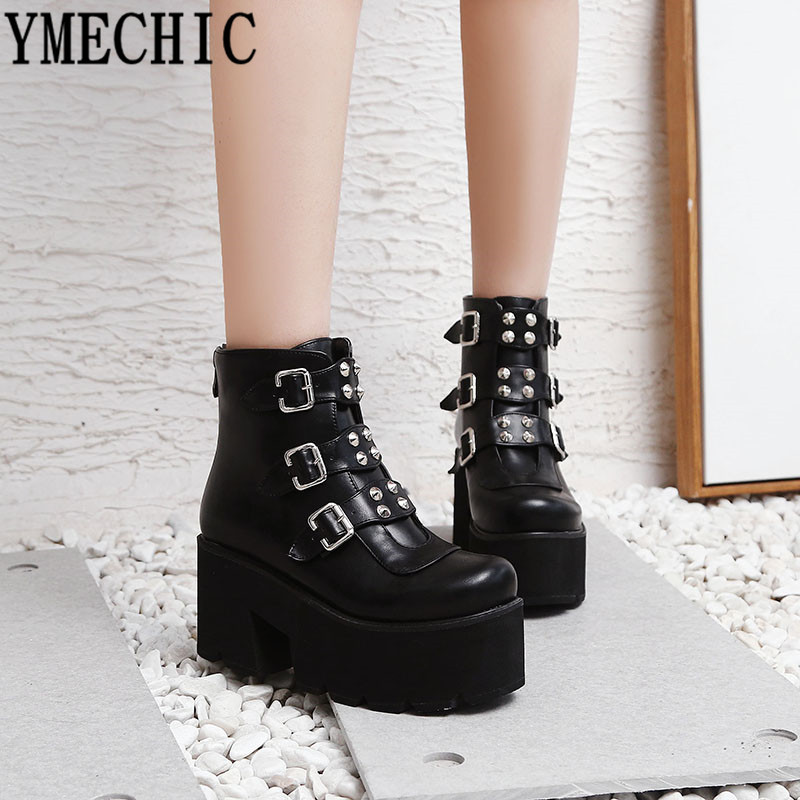 YMECHIC 2019 Combat Boots for Women Platforms Block High Heel Punk Shoes  Gothic Rivet Buckle Ankle Military Boots Big Size 34-45 bbe453a4e317