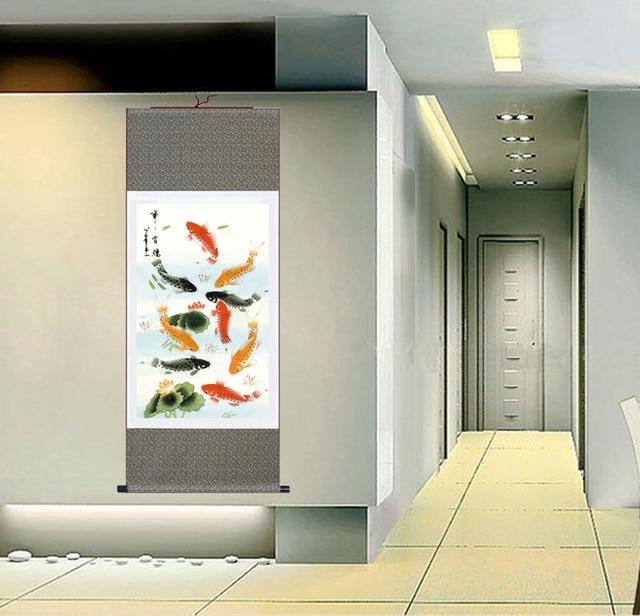 b31475889 Online Shop Modern Wall Art Goldfish Paintings Chinese Silk Scrolls ...