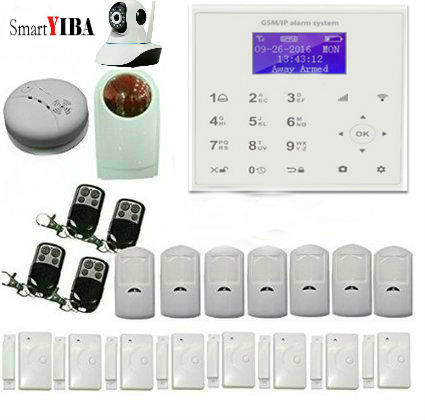 SmartYIBA Wifi GSM Quad Band Wireless Home Security Alarm System Autodial SMS Detector Kit with Motion Sensor IP Camera Alarm 2018 wifi alarm gsm gprs sms wireless home security intruder alarm system with hd wifi ip camera smoke detector