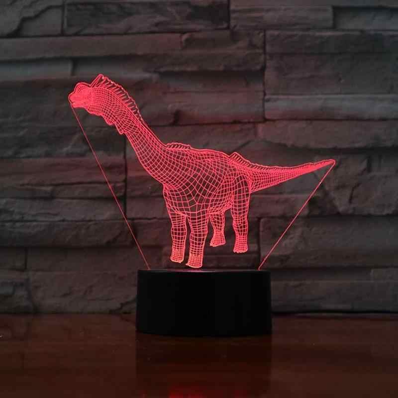 Candeeiro de Mesa de Luz noite 3D Presentes Da Novidade para Crianças Iluminação RGB Luzes Pilhas AA Brinquedo Dinossauro 3 Perguntou Cabo Usb incluem LED