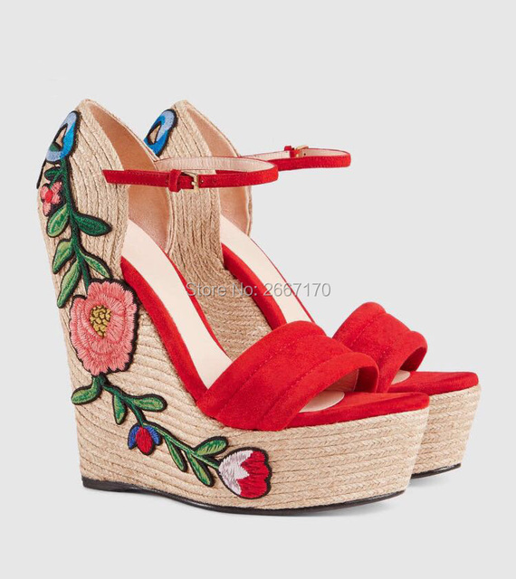 669e7ab53e Black Red Suede Embroidery Floral Shoes Summer Sexy Sandles Ankle Strap  Twined High Heel Wedges Women's Platform Wedge Sandals