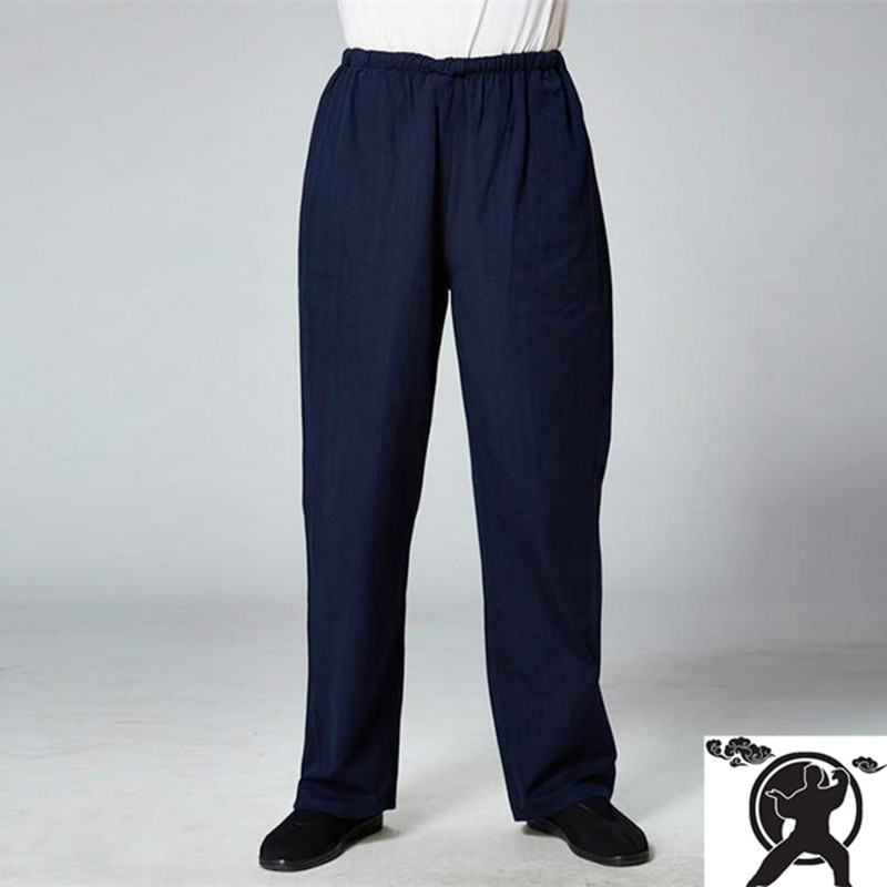 Pure cotton Martial Arts kung fu sports pants old-coarse male breathable trousers Chinese Tang traditiona tai chi leisure pants