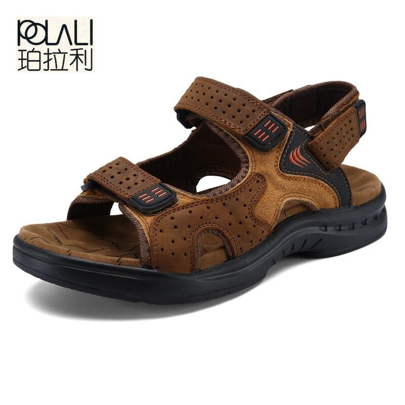 Polali americano feito de alta qualidade dos homens sandálias couro genuíno estilo inglaterra sandálias masculinas sandálias de couro vaca x1376 35