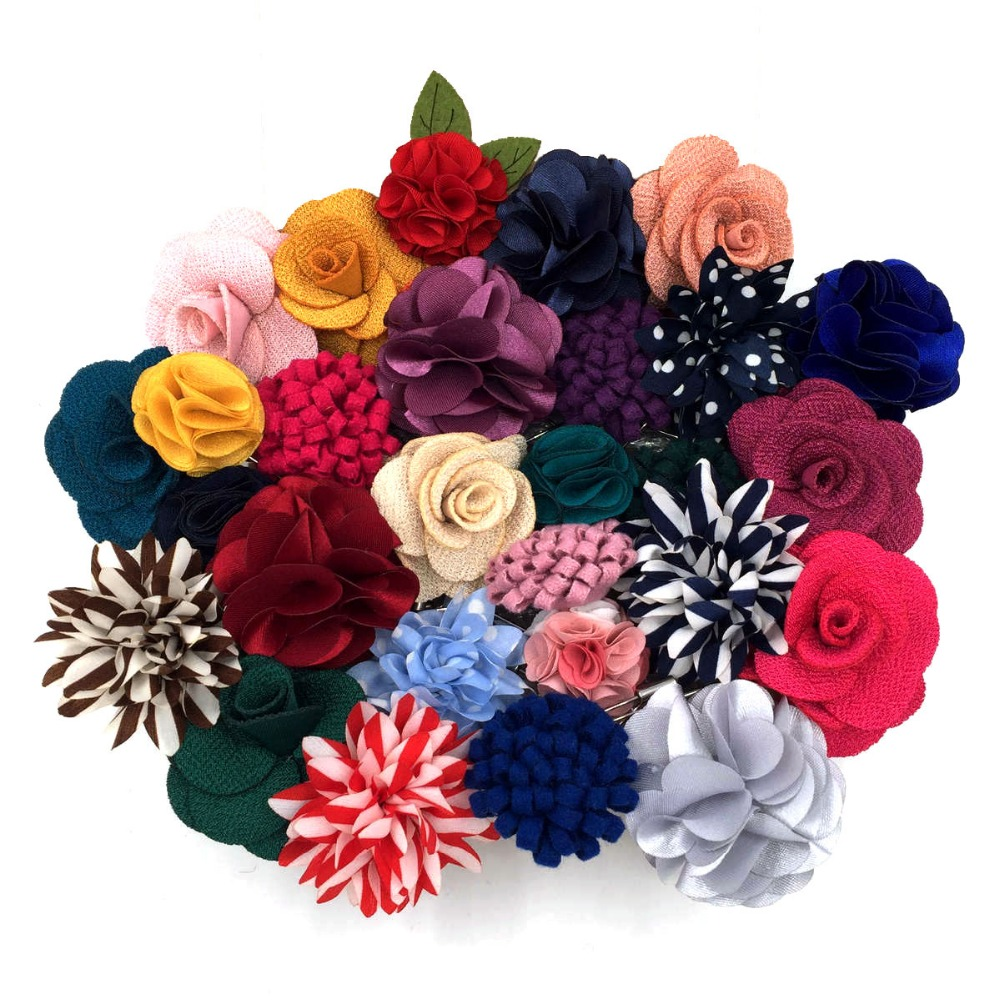 Mens Lapel Flowers Colorful Silk Wedding Classic Accessory Groom