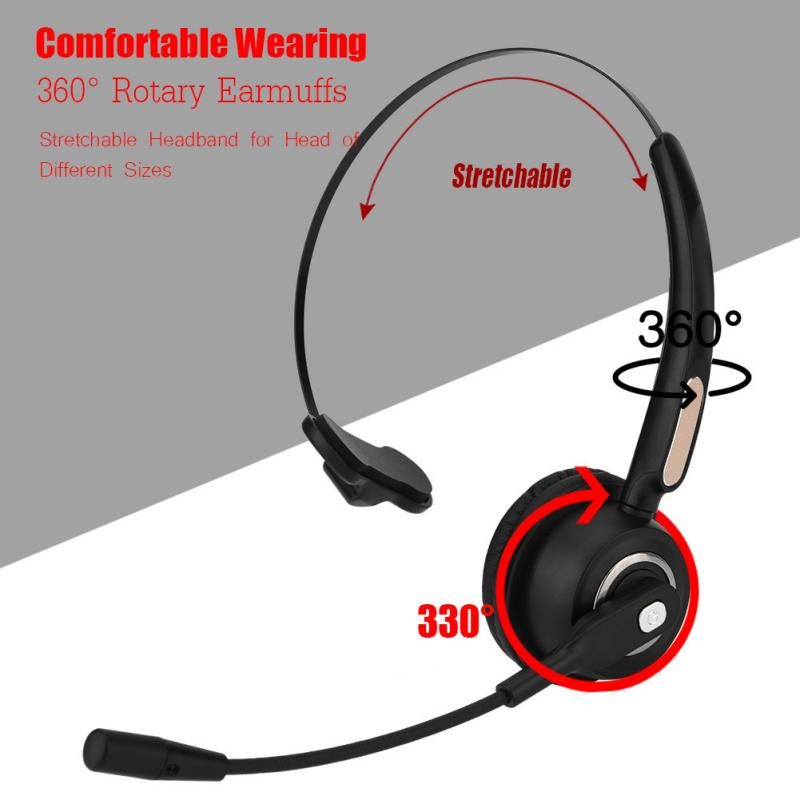 Bluetooth Headset Wireless Over Head Earpiece Noise Canceling Headphones with Noise Reduction Mic for Call Center ...