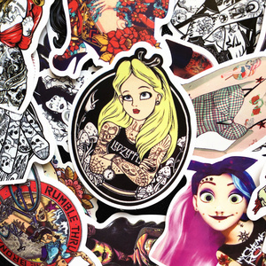 Image 3 - 50Pcs/Lot Spoof Punk Tattoo Princess Sticker For Kids Toy Luggage Skateboard Phone On Laptop Moto Bicycle Wall Guitar Stickers