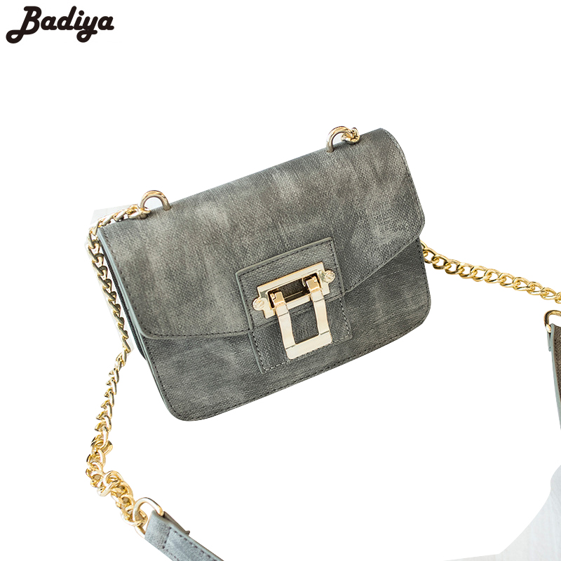 Womens Fashion Solid Chains Strap Single Shoulder Bags PU Leather Lock Crossbody Bag For Women Ladies Small Messenger Bags