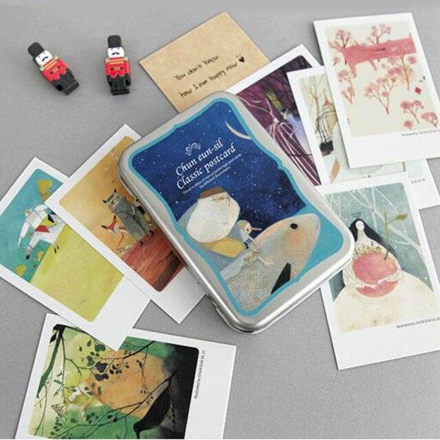 40pcslot pinocchio tin box greeting cards set mini retro postcards 40pcslot pinocchio tin box greeting cards set mini retro postcards european classical style cards m4hsunfo