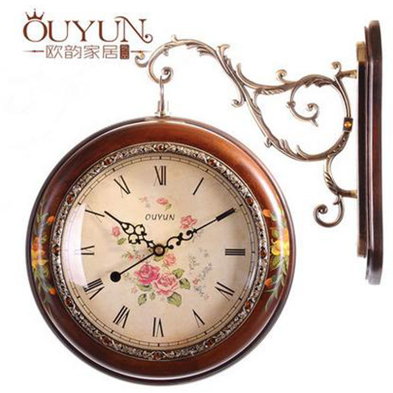 New 2015 Europe Type Double Face Solid Wood Wall Clock