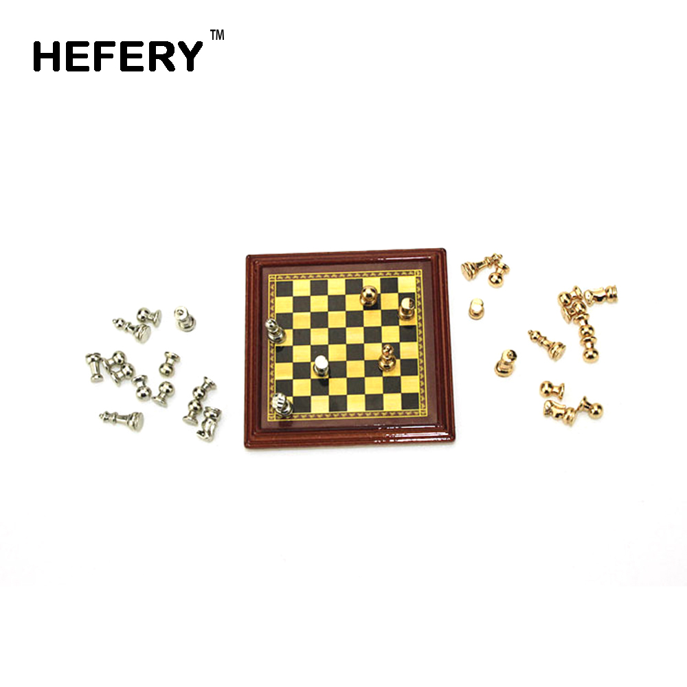 1/12 Dollhouse Miniature Accessories Mini Alloy Chess Set Board Simulation Furniture Model Toys For Doll House Decoration