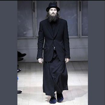 27-44 New Fashion Men's Black British Style Men's Skirts Wild Long Skirt Model Catwalk Culottes Clothing Singer Stage Costumes