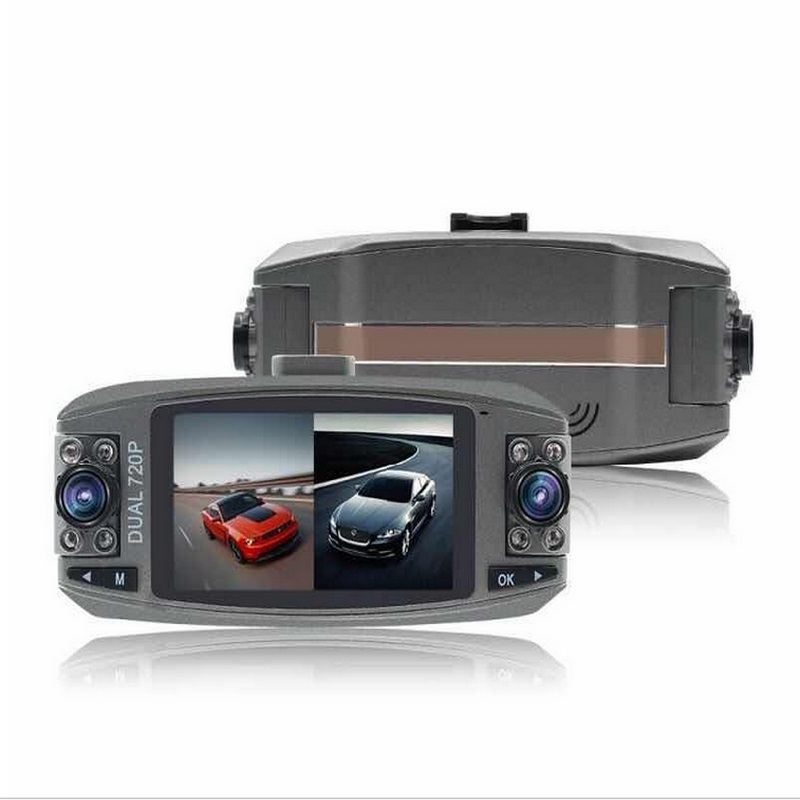 "720P Dual Camera Lens Dash Cam with 2.7"" LCD Dual Recording DVR Video Recorder & 8 IR Lights for Night Vision Parking Monitoring"