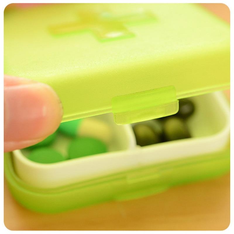 Portable 4 Grids Pill Box Organizer Drug And Tablet Medicine Storage Holder Splitter Case 2