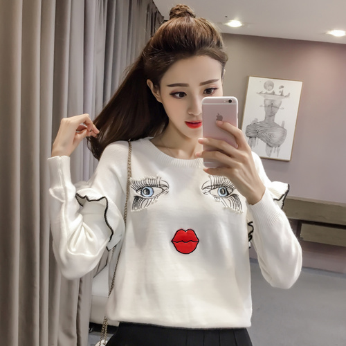 Woman Sweater Pullovers Long Sleeve 2019 Korean Cute Pearls Beading Eyes Lips Embroidery Ruffles Knitted Sweater Jerseys 2253