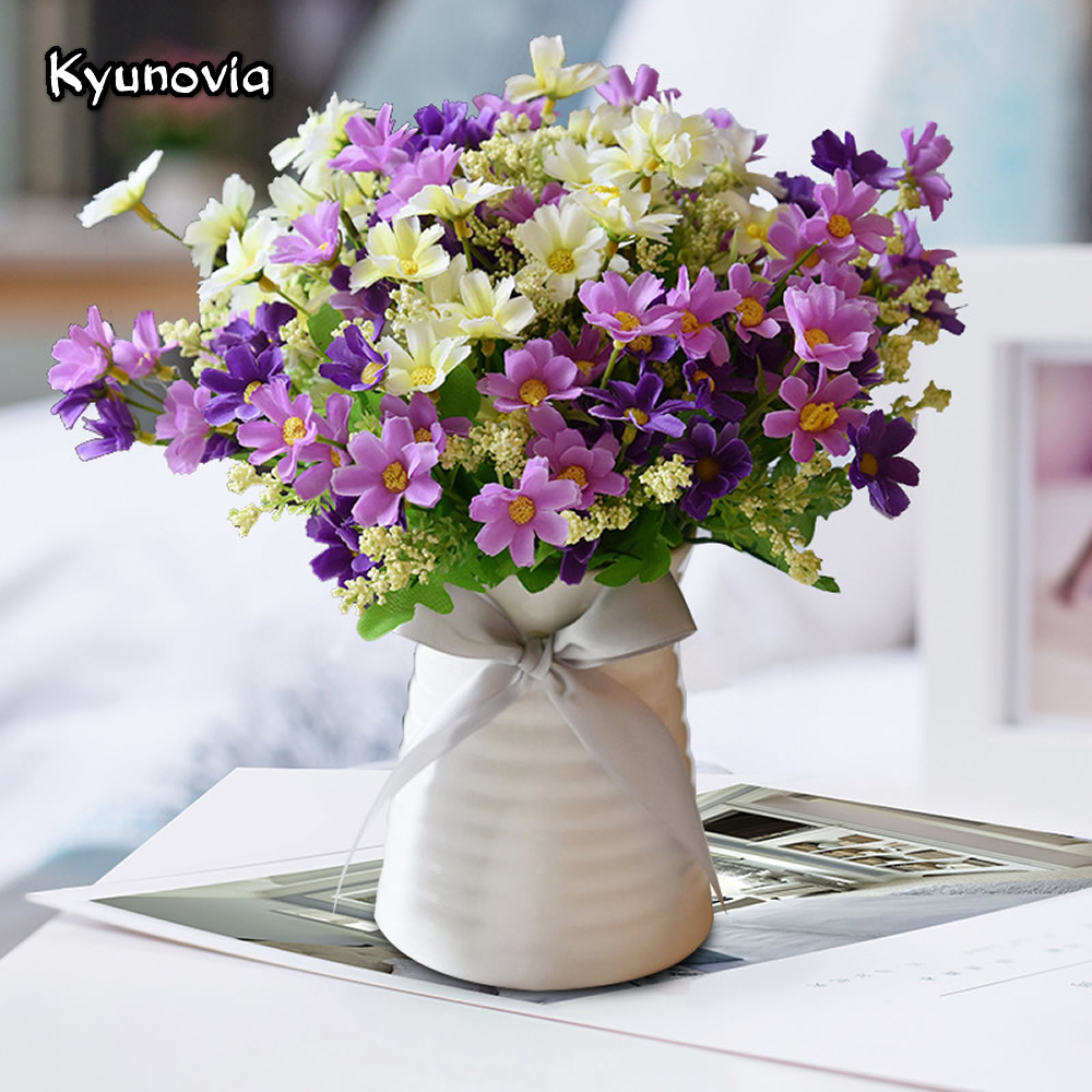 Kyunovia 1 Set Quality Ceramics Vase Silk Flowers Artificial Daisy