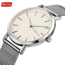 Abrray Rose Gold Women's Watch Stainless Steel Strap Lady Watches Casual Style Quartz Wristwatch Lightweight Silver Band