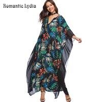 New Arrival 2018 Verão Mulheres Boho Chic Floral Boêmio Longo vestido de Chiffon Solta Praia Kaftan Maxi Vestido Robe Femme Plus tamanho
