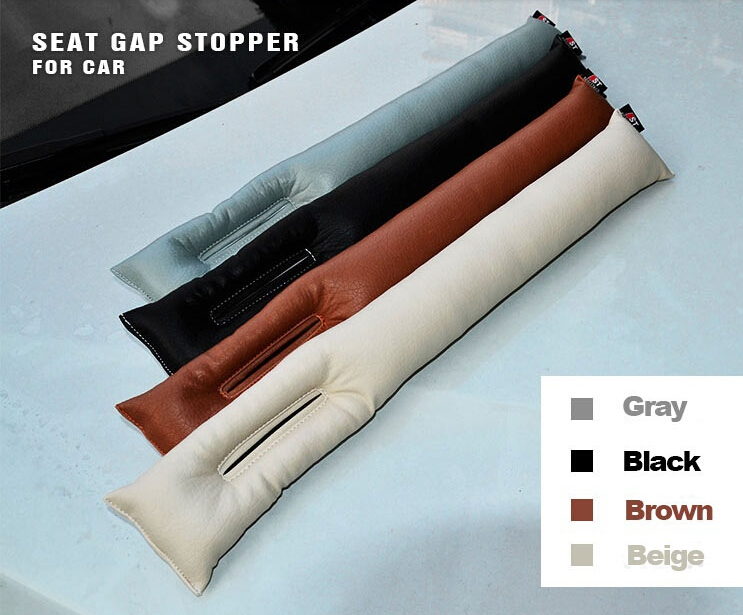 Free Shipping Grey Black Beige Brown Car Seat Cushion Crevice Gap Stopper PU Leather Leakproof Protector car seat cover pad(China)