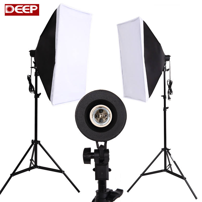 Photography Softbox Lighting Kit Photo Equipment Soft Studio Light Softbox Continuous Lighting Kit 2meter Light Stand