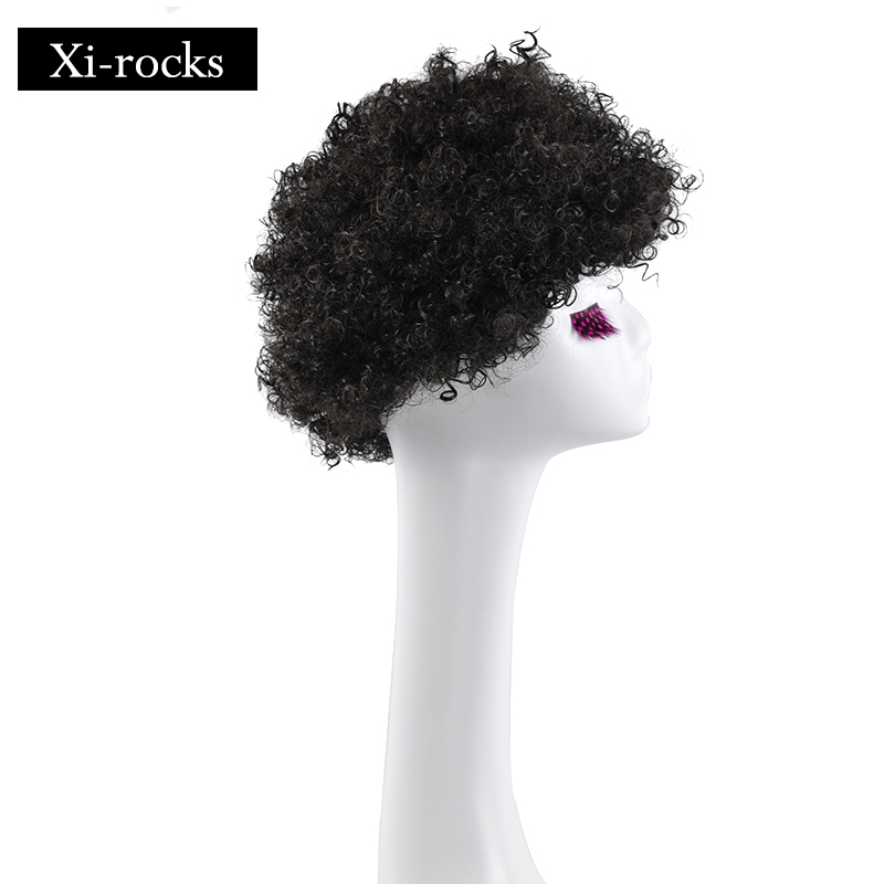 3035 Xi rocks Synthetic High Temperature Afro Kinky Curly wigs Natural Black Color Short Wig Short wig for Black Women in Synthetic None Lace Wigs from Hair Extensions Wigs