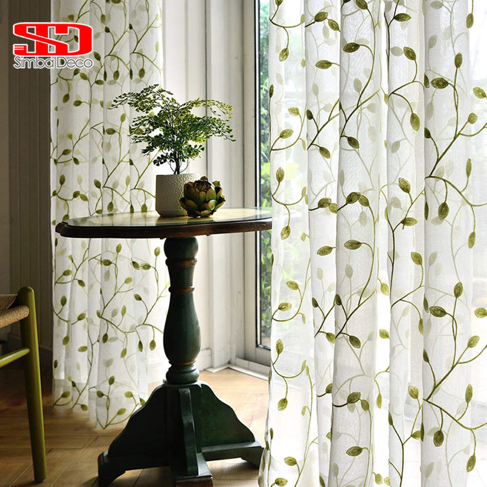 Embroidery Leaves Tulle Curtains For Living Room Green
