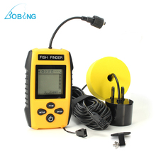 Bobing Portable LCD Fish Finder 0.6-100M Depth Locator Sonar Transducer Sensor Alarm Sounder Detector