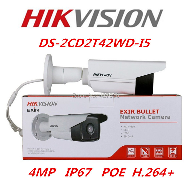 Hikvision Original English Version DS-2CD2T42WD-I5 Replace DS-2CD3T45-I5 4MP EXIR Network Bullet IP Camera POE IR50m CCTV Camera