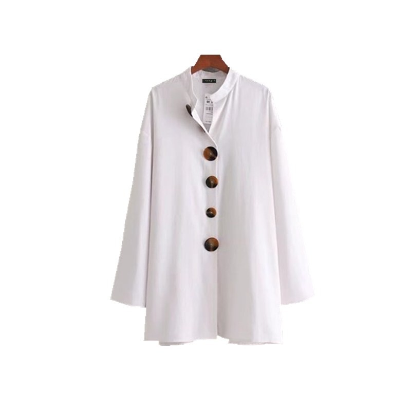 Nsz Women Linen Shirt Cotton Blouse Ladies Long Tops Button