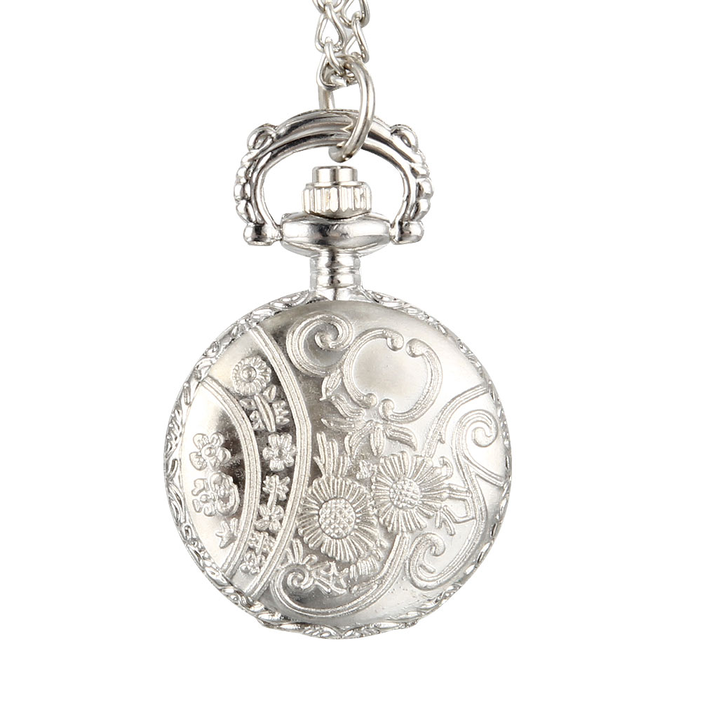 Fashion Vintage Women Quartz Pocket Watch Alloy Hollow Out Flowers Lady Girl Sweater Chain Necklace Pendant Clock Gifts