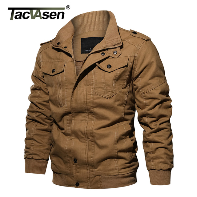 TACVASEN Winter Men Jacket Coat Military Thermal Fleece Jacket Thick Men's Army Pilot Jacket Air Force Casual Cargo Jaqueta