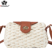 Luxury Brand Handmade Rattan Woven Straw Bag Fashion Summer Straw Beach Bag Women Bohemia Crossbody Bags for Women Clutch Purse