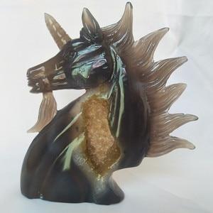 Image 1 - טבעי אבן אגת אשכול גילוף unicorn קריסטל גולגולת creative גילוף עיצוב הבית אצילי וטהור