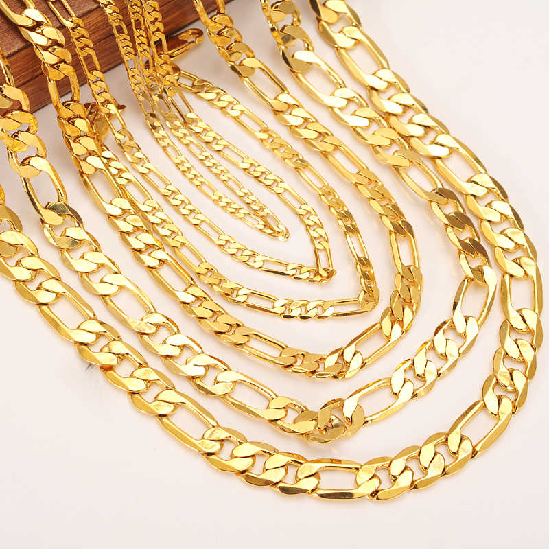 72cd16f9d60 gold Men Chain Necklace Figaro Link necklace chain bracelet Gold Filled  Women Wholesale Jewelry 3/4/5/6/7/8/9/10mm boys gift