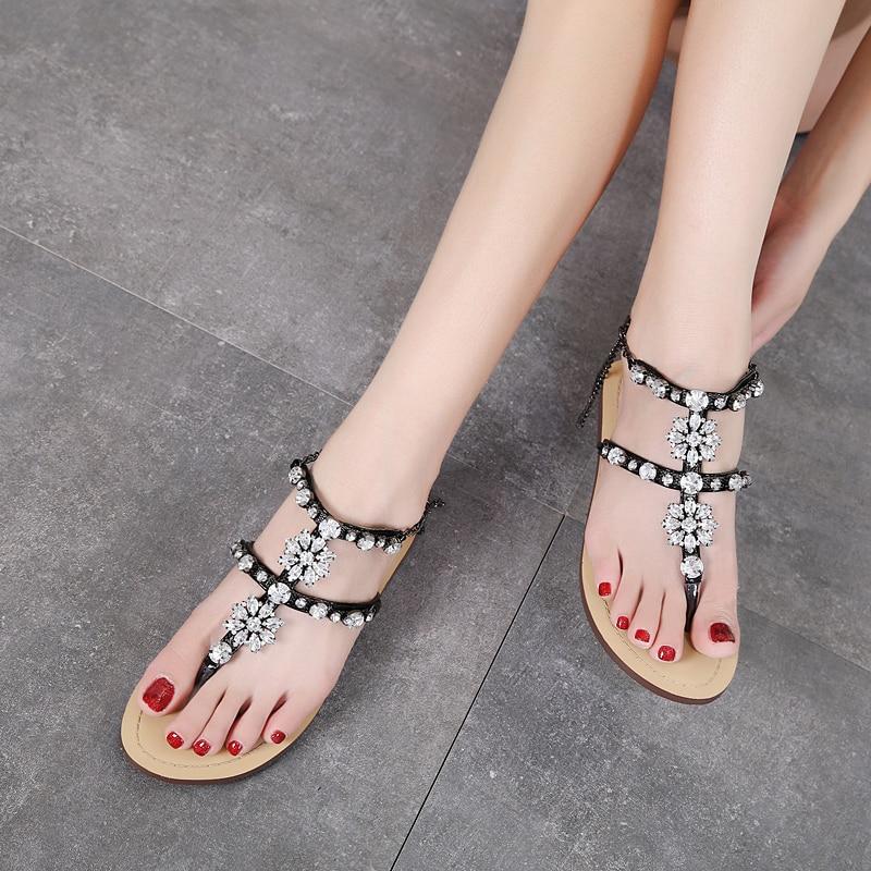HTB130Z5kZuYBuNkSmRyq6AA3pXal 6 Color Woman Sandals Women Shoes Rhinestones Chains Thong Gladiator Flat Sandals Crystal Chaussure Plus Size 46 tenis feminino