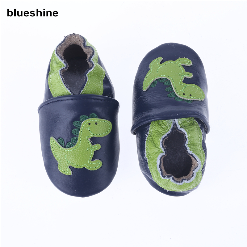 Genuine Leather Cartoon Dinosaur Soft Baby Shoes Boys Toddler Girls Baby Moccasins Zapatos Anti-slip Shoes Infant First Walkers