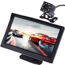 5 Inch TFT LCD Color Car Rear View Monitor With Camera LED Night Vision Monitors