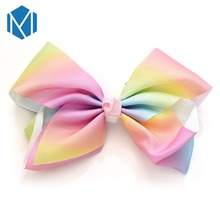 MISM 1PC 8inch Bowknot Hair Clip For Children Gilrs Candy Color Hand-made Bow Clips Cute Princess Accessories