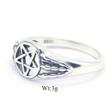 Size 6-10 Free Shipping 925 Sterling Silver Pentagram Ring Newest Lady Girls S925 Hollow Out Star Ring